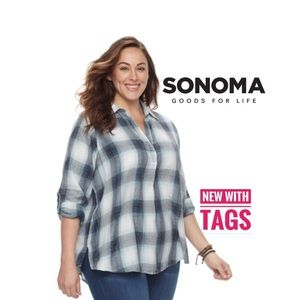 Sonoma crinkle Flannel pull over shirt